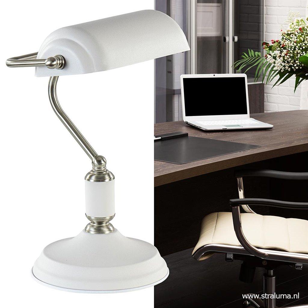 Bankiers tafellamp nikkel met wit