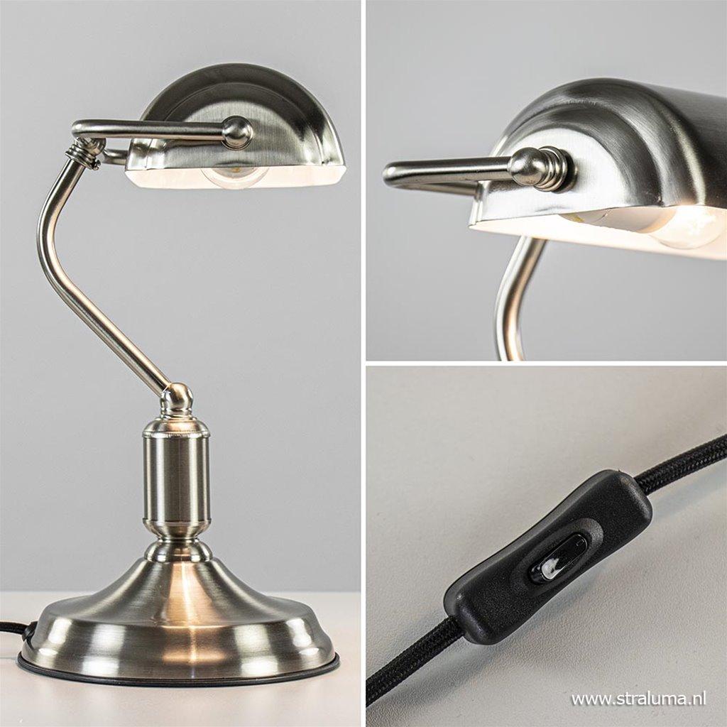 Moderne tafellamp bankier nikkel