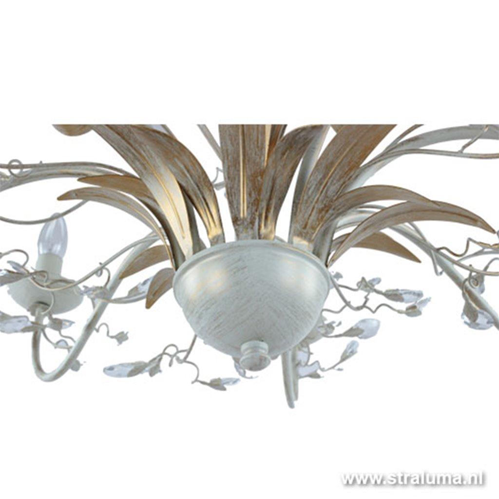 Italiaanse hanglamp kroon - goud/creme