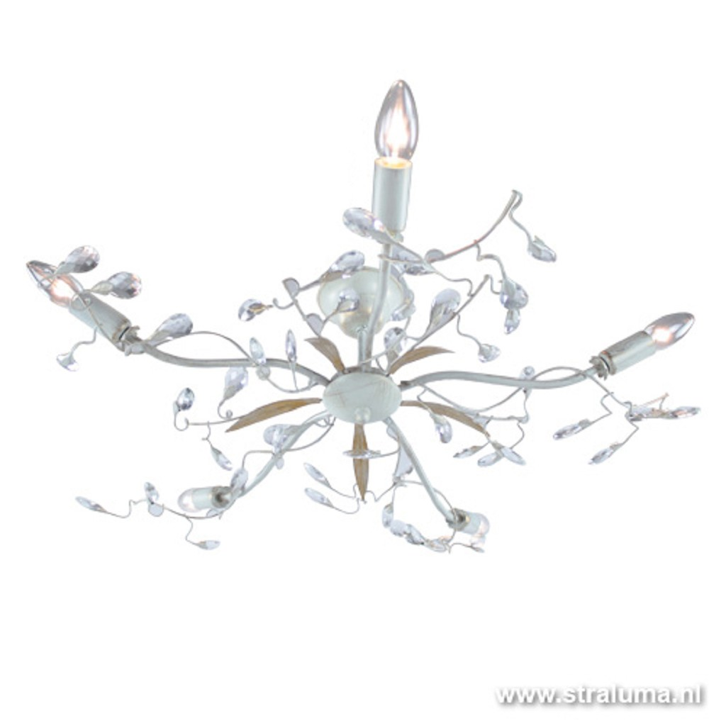 Italiaanse plafonnière kristal creme
