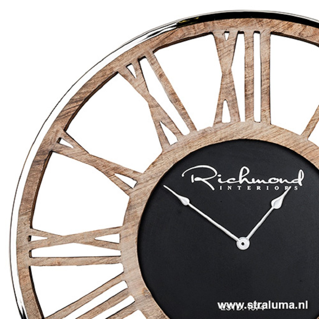 Ongekend Ronde landelijke klok hout met zilver | Straluma MM-05