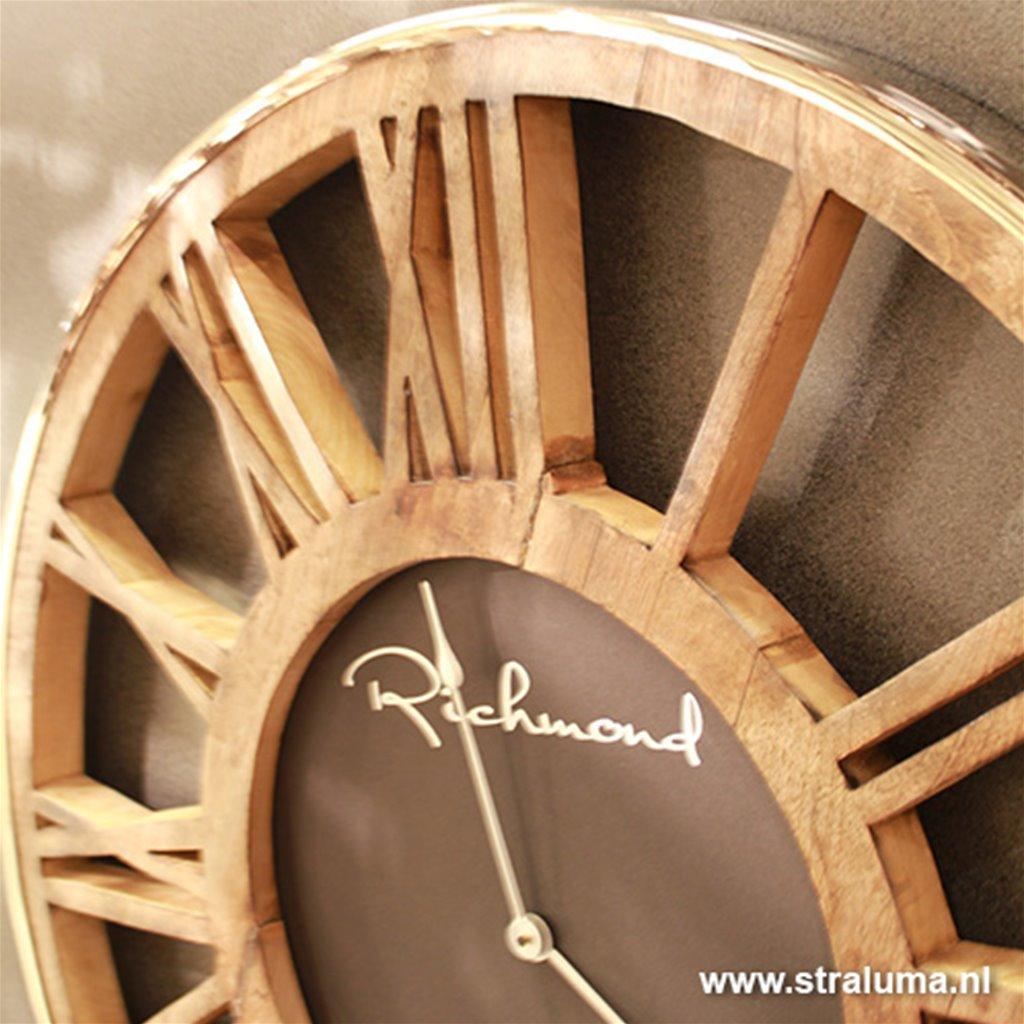 Ongebruikt Ronde landelijke klok hout met zilver | Straluma PH-62