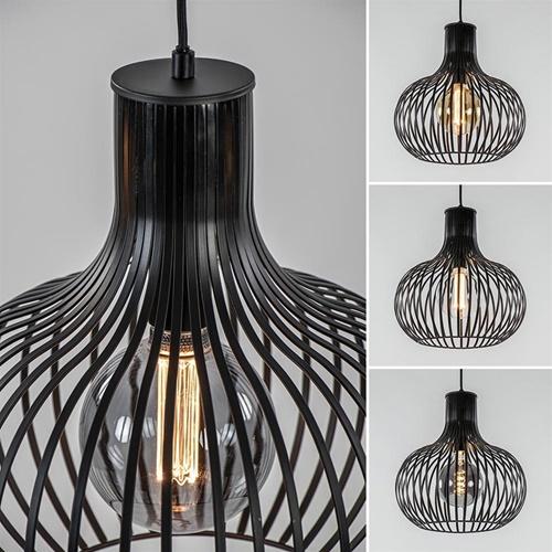 3-Lichts eettafelhanglamp onion mat zwart