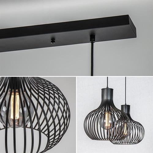2-Lichts hanglamp met mat zwarte draad kappen