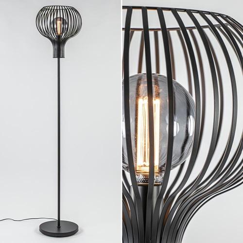 Modern landelijke vloerlamp mat zwart met draadkap