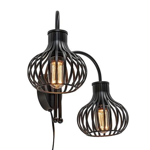 2-Lichts draad wandlamp mat zwart