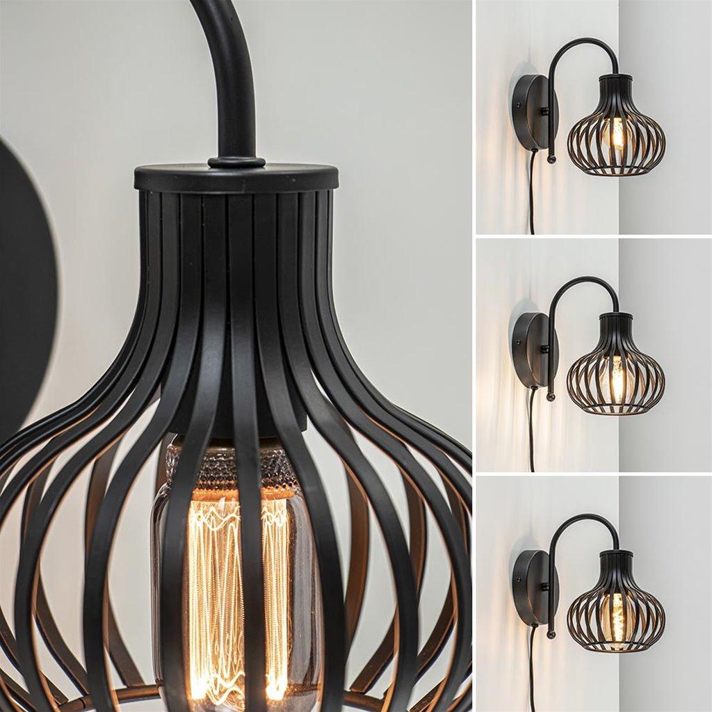 Scandinavische wandlamp mat zwart met snoer