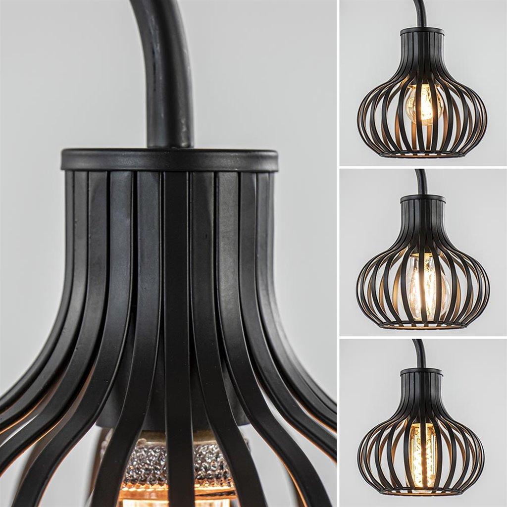 Moderne draad tafellamp onion mat zwart