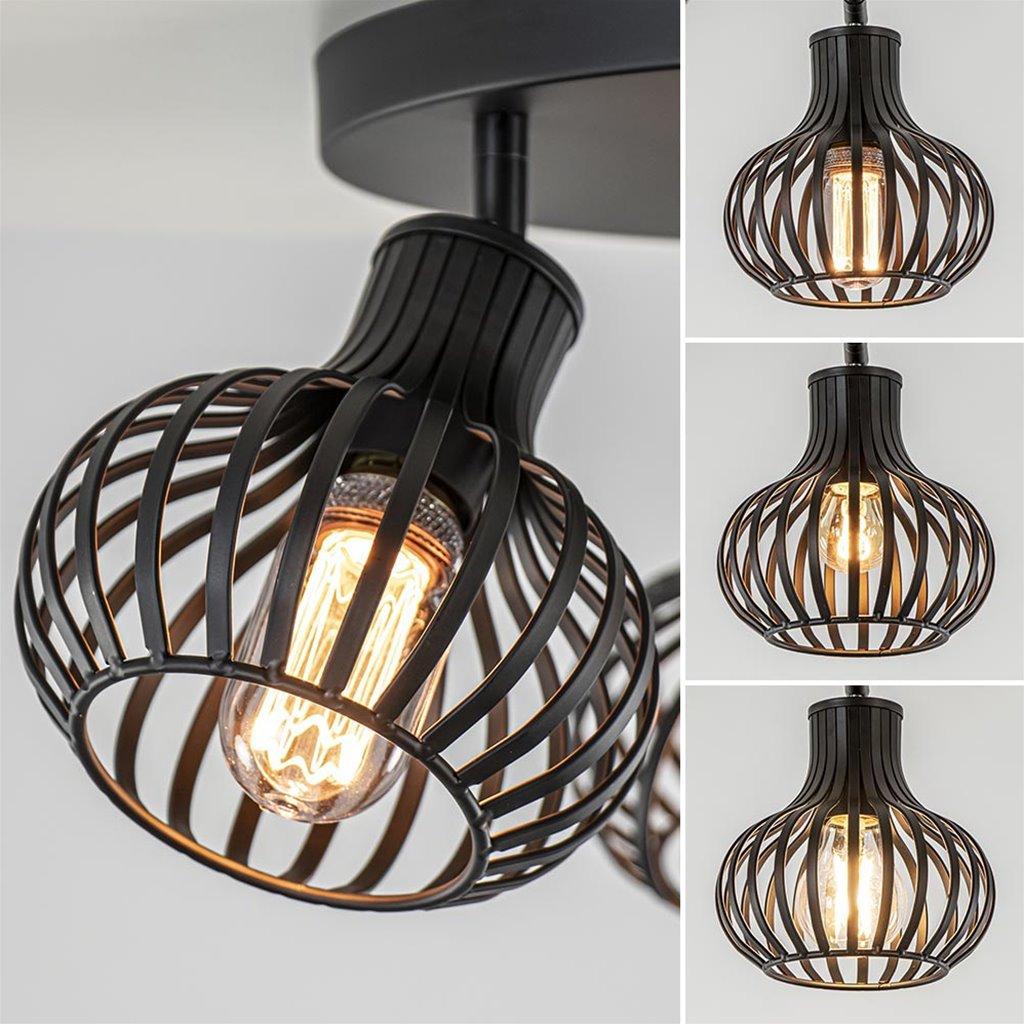 Ronde 3-lichts plafondlamp met verstelbare kappen