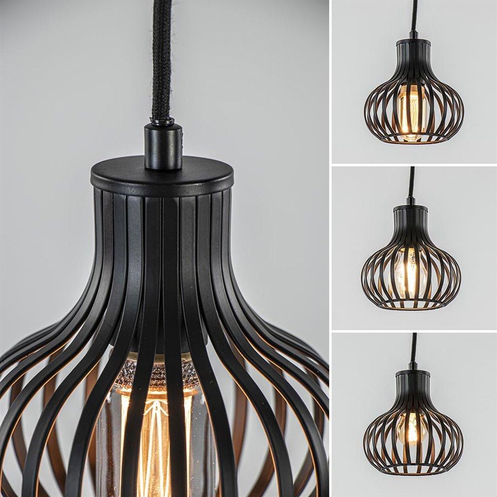 Ronde 5-lichts videlamp met mat zwarte draadkappen