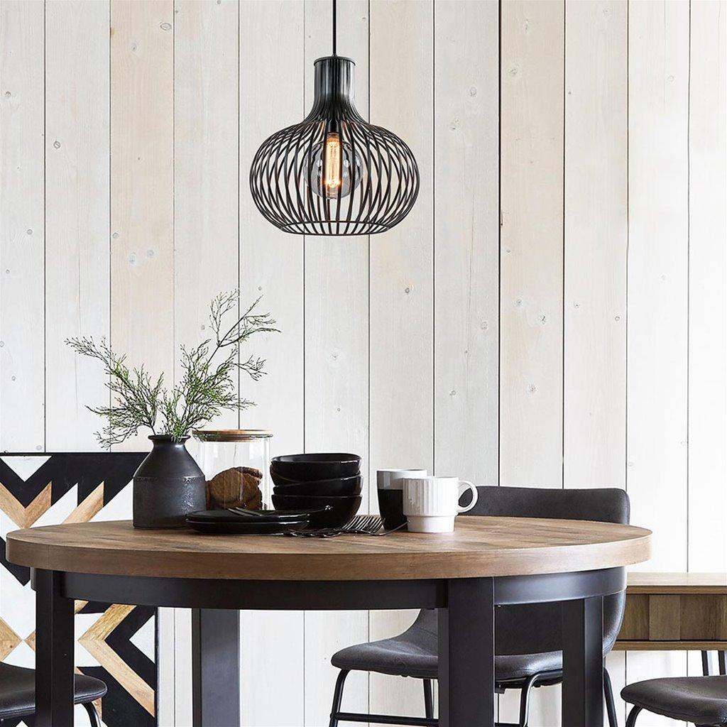 Ronde draad hanglamp onion mat zwart