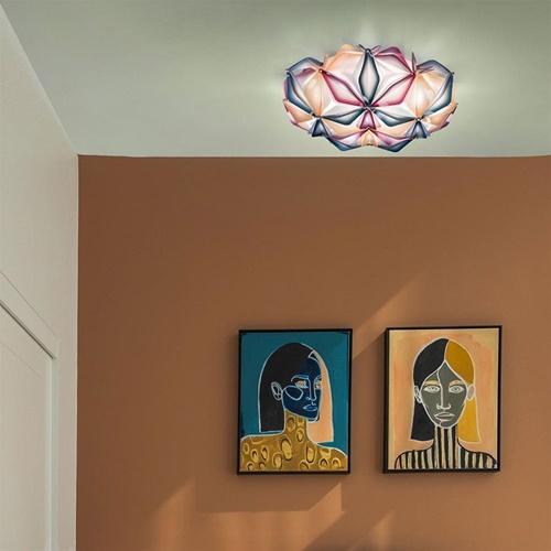 Ronde design plafondlamp La Vie multi blauw