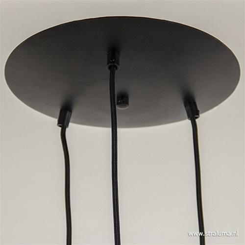 Speelse 3-lichts hanglamp zwart metaal
