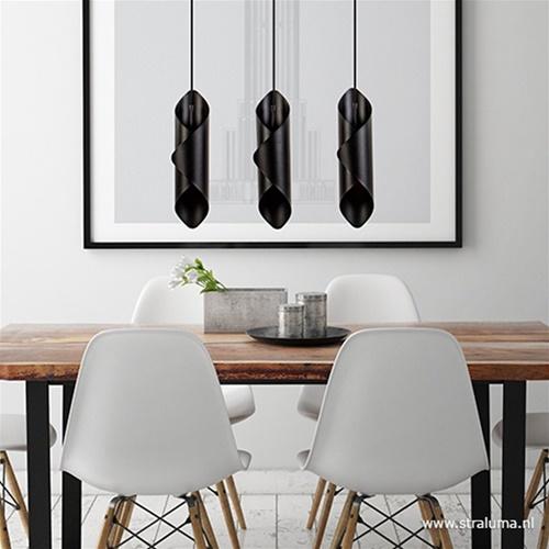 Moderne 3-lichts hanglamp zwart metaal