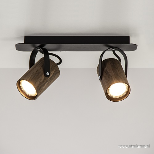 Spot balk 2-lichts wenge hout/zwart gu10