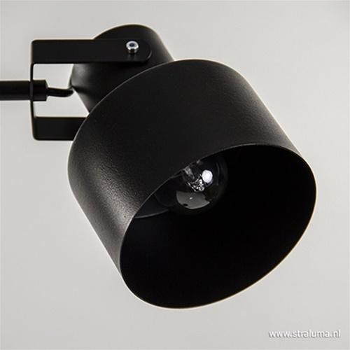 Stoere vloerlamp zwart metaal 2-lichts