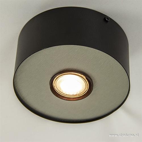 Plafondspot disc zwart/alu gu10