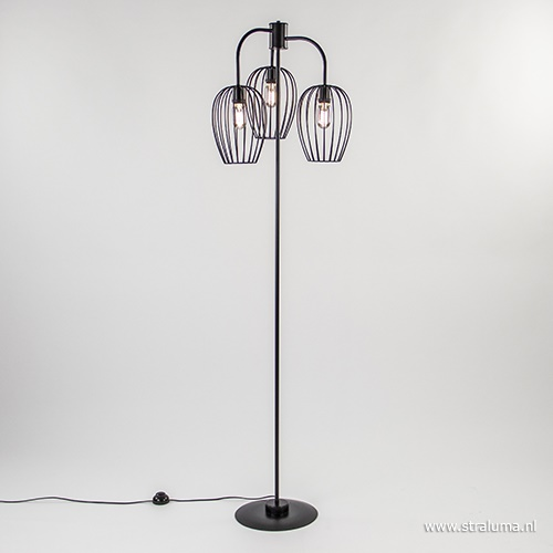Draad vloerlamp 3-lichts korf zwart