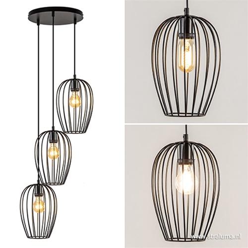 3-Lichts ronde draad hanglamp zwart