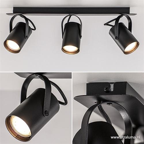 Plafondspot 3L op balk zwart