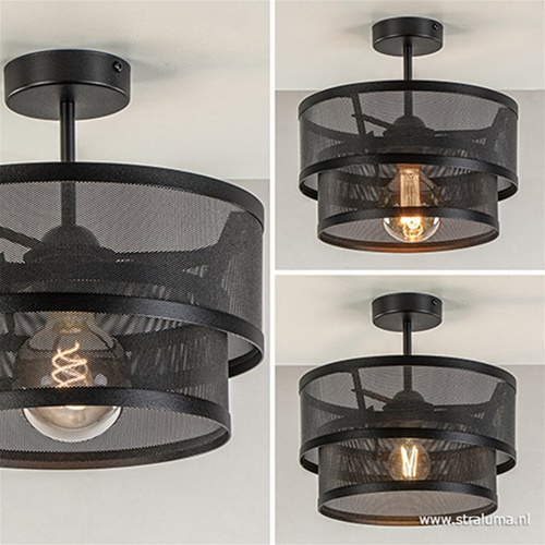 Moderne plafondlamp zwart metaal 30 cm