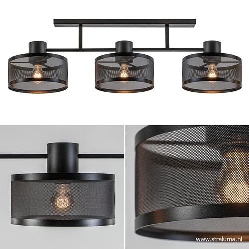 3-Lichts plafondlamp modern mat zwart
