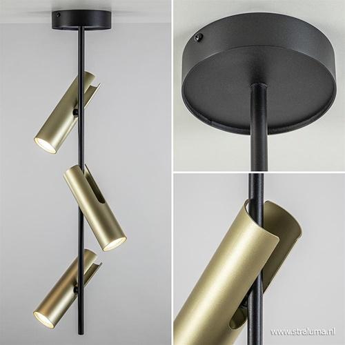 Trendy plafondlamp zwart met goud verstelbaar
