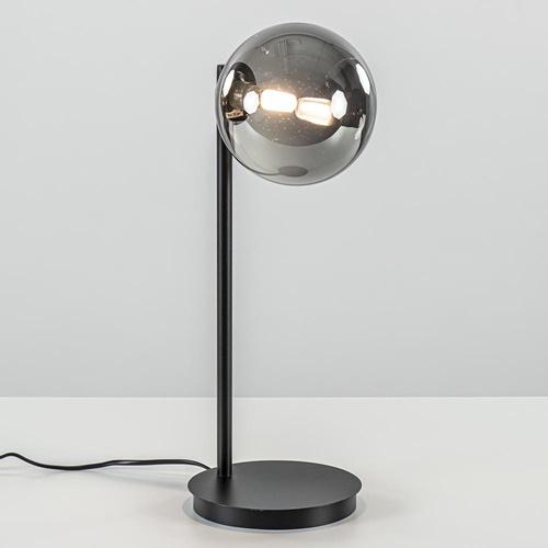 Tafellamp zwart met smoke glazen bol
