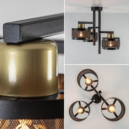 Plafondlamp 3L zwart/goud cilinder geperforeerd