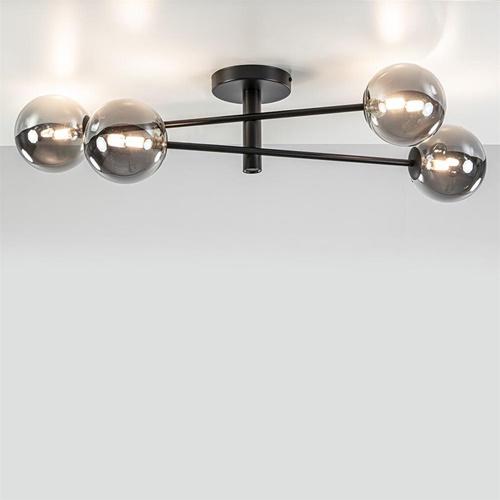 Plafond/wandlamp zwart met smoke glazen bollen