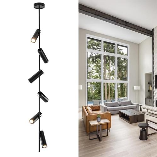 6-Lichts plafondlamp mat zwart verstelbaar