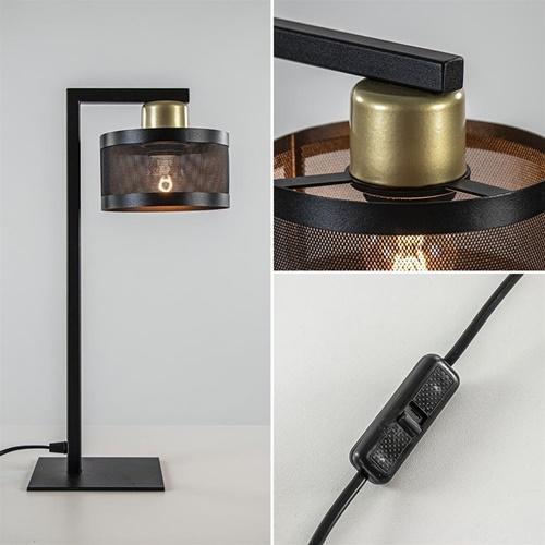 Tafellamp zwart/goud met ronde kap