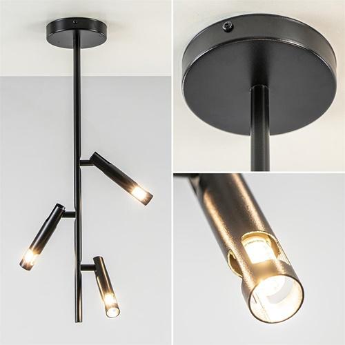Verstelbare 3-lichts plafondspot zwart metaal