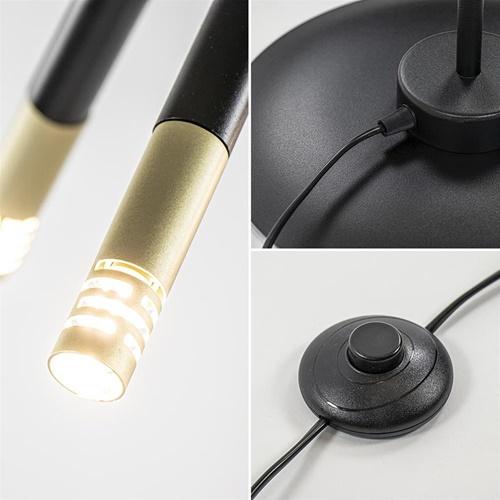 Mat zwarte vloerlamp G9 met gouden accenten