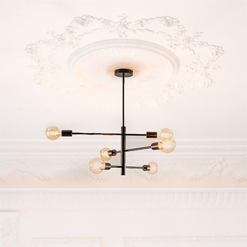 Modern chique plafondlamp 6-lichts zwart