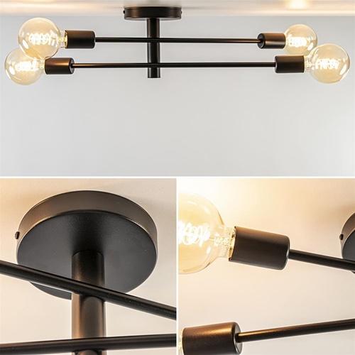 Mat zwarte plafond/wandlamp exclusief lichtbron