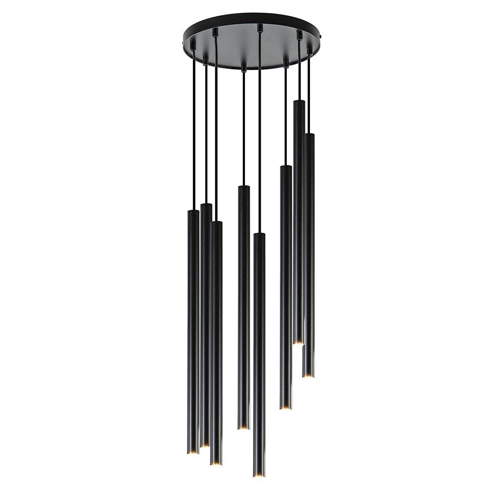 Zwarte hanglamp 8-lichts cilinder G9