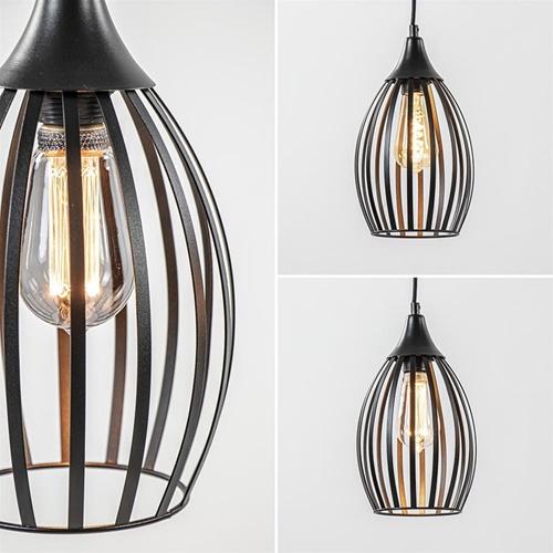 Scandinavische eettafelhanglamp met ovale korven