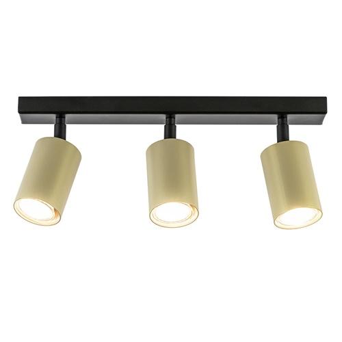 Langwerpige 3-lichts opbouwspot zwart goud