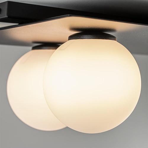 Grote plafondlamp rechthoekig zwart met witte bollen