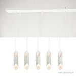 *Witte hanglamp eettafel/bar 5-lichts