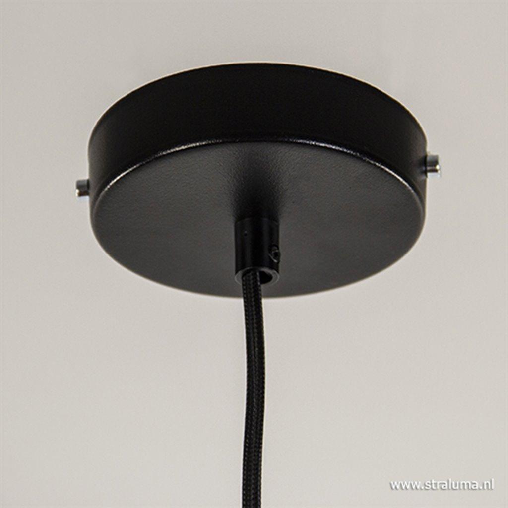 Moderne ronde hanglamp zwart metaal