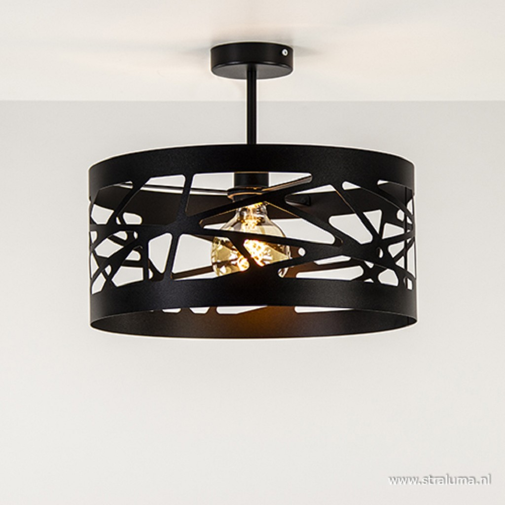 Zwart metalen plafondlamp Scandinavisch