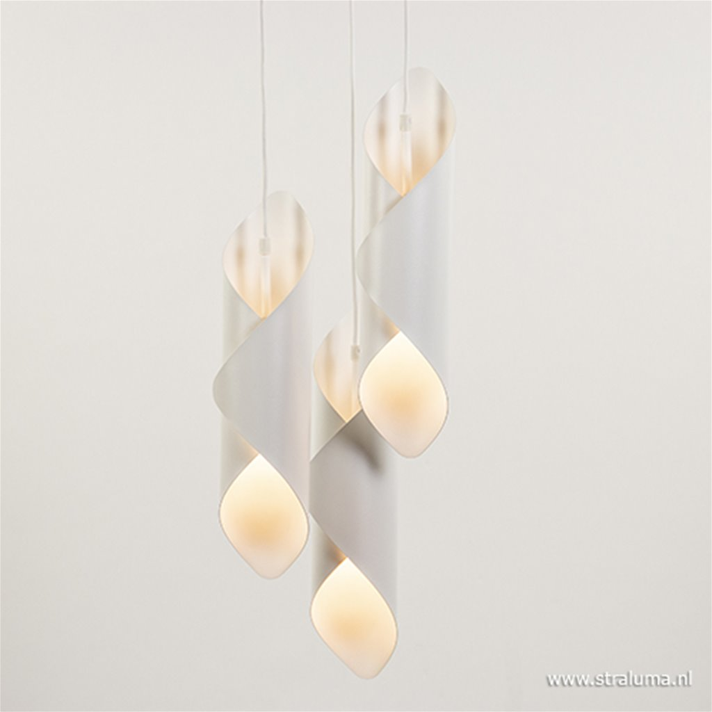 Ronde 3-lichts hanglamp wit
