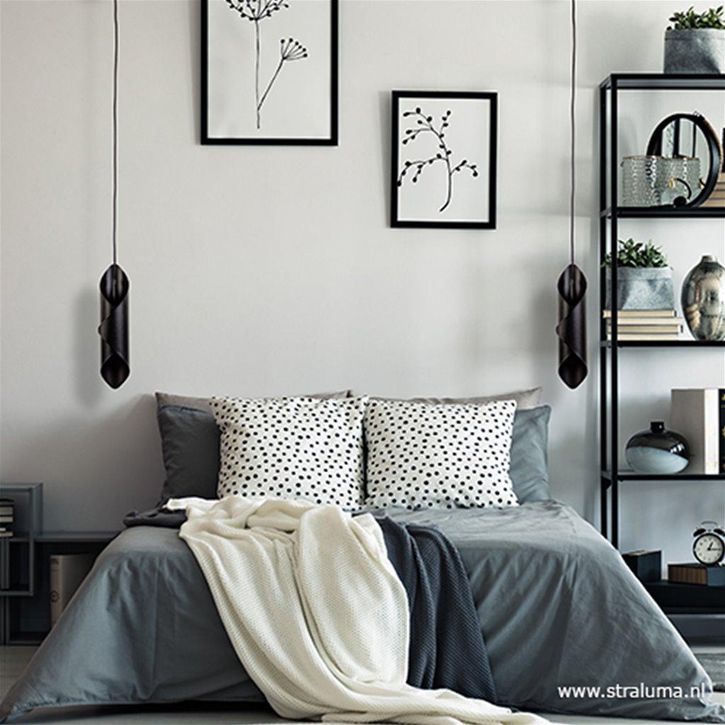 Hanglamp gevouwen metaal zwart