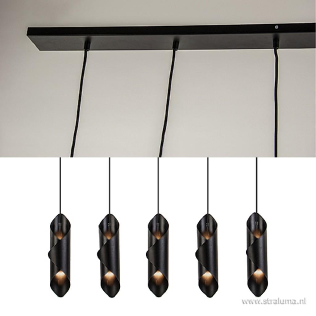 Eettafel hanglamp zwart 5-lichts
