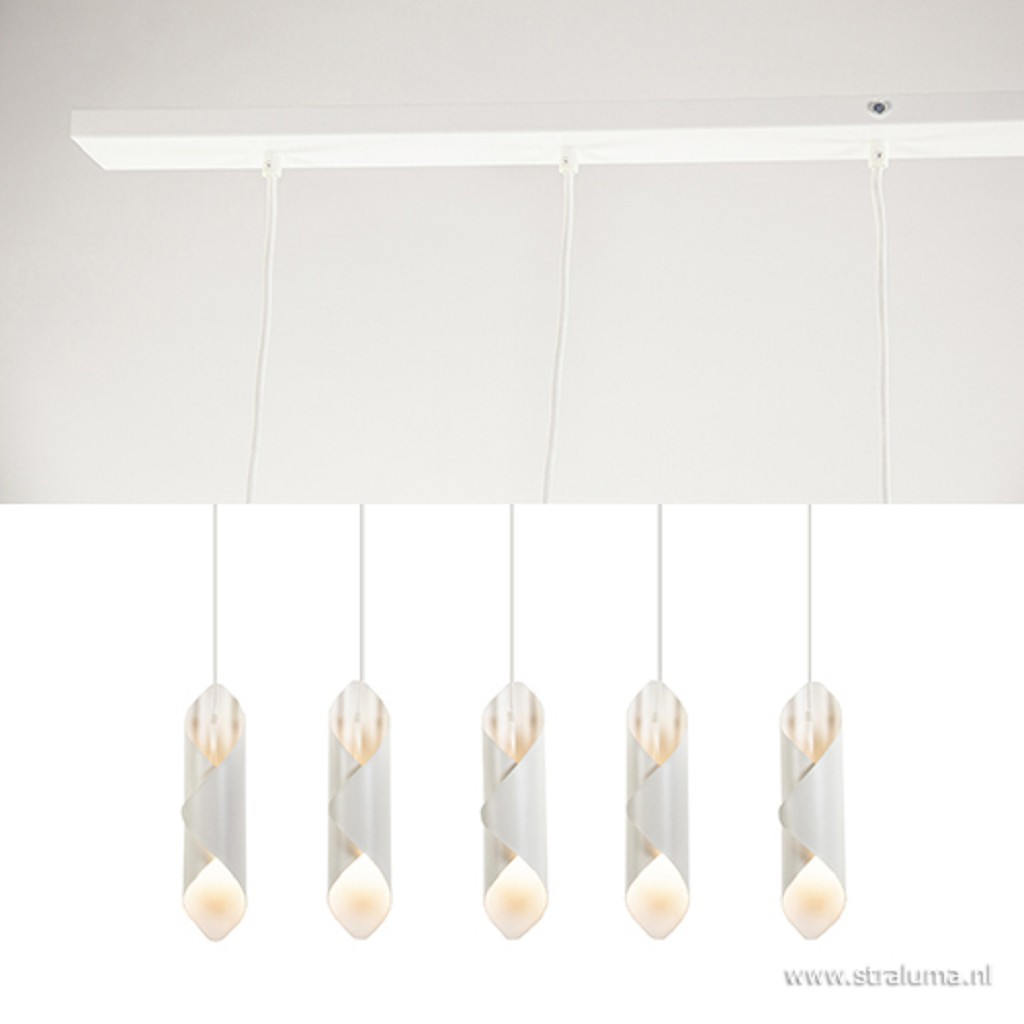 Witte hanglamp eettafel/bar 5-lichts