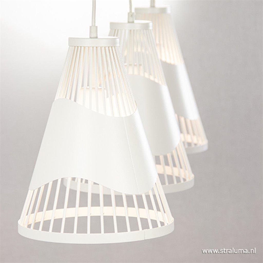 *3-lichts eettafelhanglamp wit metaal