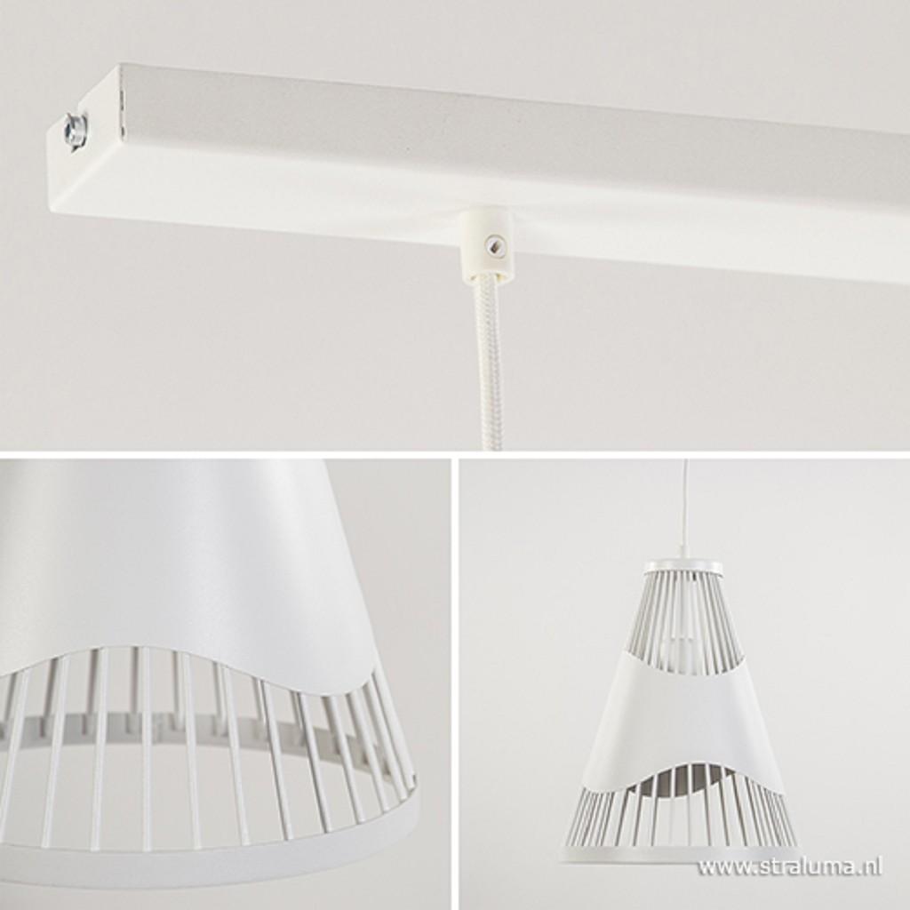 *Kleine witte eettafel hanglamp 2-lichts