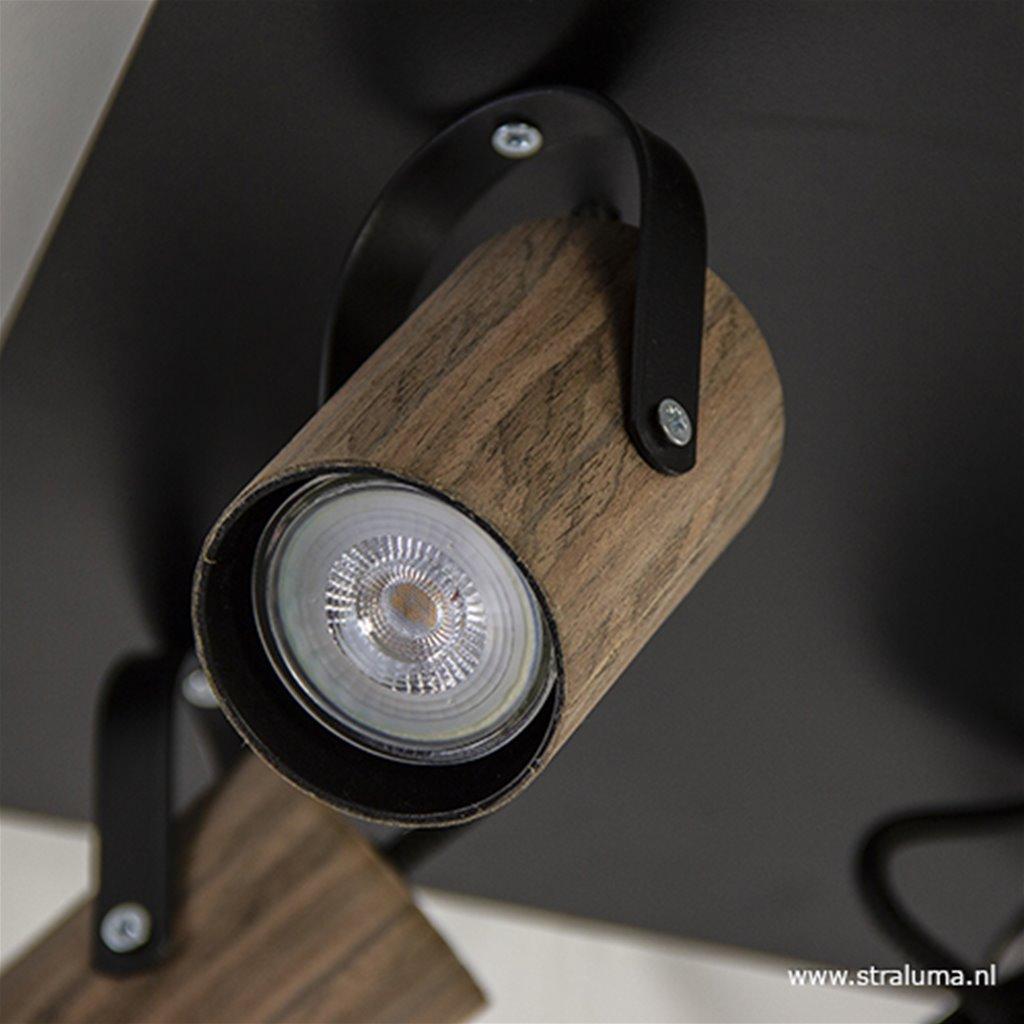 Spot vierkant 4-l wenge hout/zwart gu10
